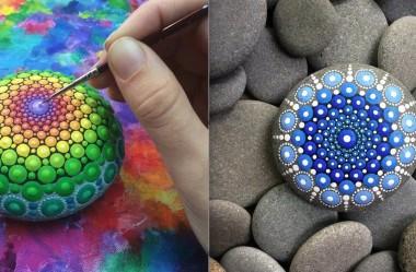 Conheça Elspeth McLean: A artista que transforma pedras em mandalas coloridas.