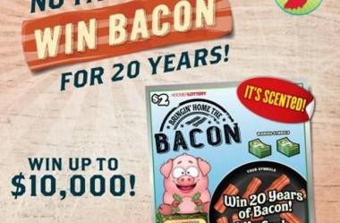 Bacon por 20 anos! É o prêmio que uma loteria oferece nos EUA.