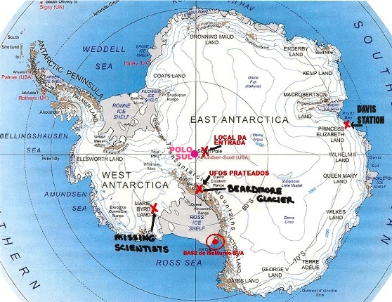 Locais identificados na Antárctica pelo engenheiro naval aposentado da Marinha dos EUA, Brian
