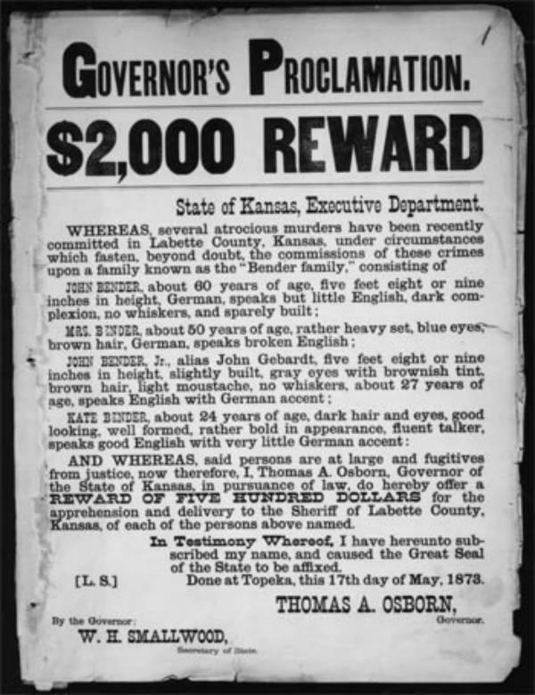 O cartaz de procurado e da recompensa oferecida pelo governo do estado do Kansas.