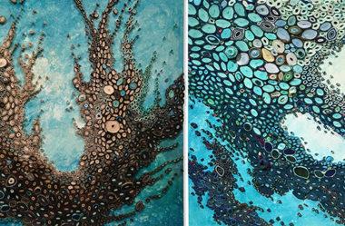 Amy Genser e seus incríveis corais feito com recortes de papel e tinta